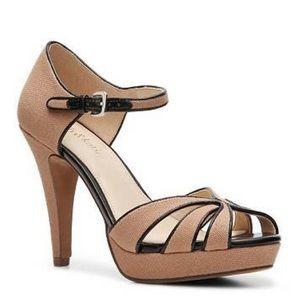 Brand New black/taupe fabric heel